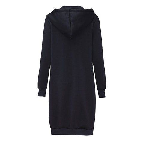 Casual Loose Zipper Plus Size Thick Solid Long Hoodies Sweatshirt
