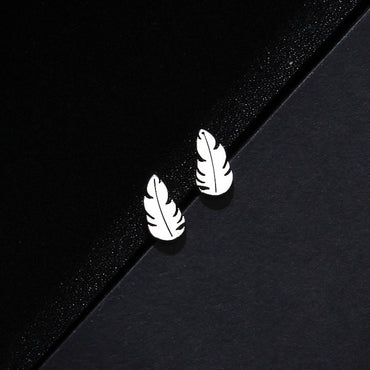 Feather Shape Stainless Steel Women Jewelry Sets Necklace/Earrings/Bracelets