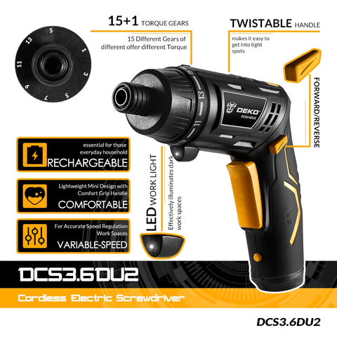 Black Cordless Electric Household Rechargeable Battery Screwdriver With LED Torch
