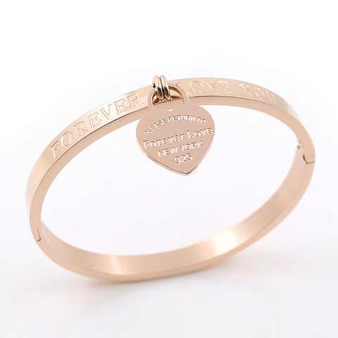 Trendy Stainless Steel Heart Pendant Bangle Bracelet