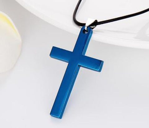 Stainless Steel Link Chain Unisex Cross Pendant Necklace