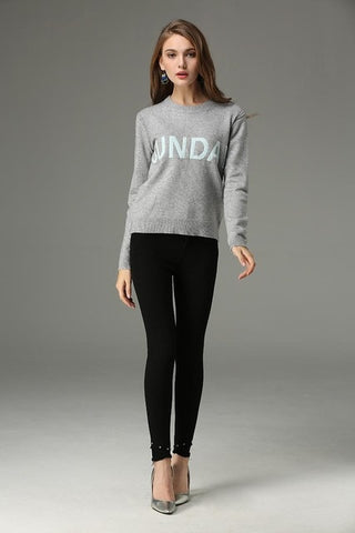 Weekdays Embroidered Letters Solid Colors Long Sleeve Knitted Tops