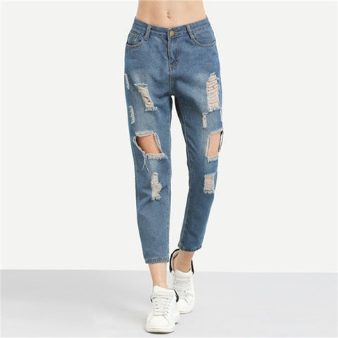 New Blue Ripped Ankle Length Casual Plain Straight Denim Jeans for Women