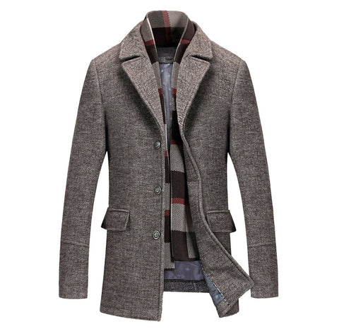 Casual Thick Cotton Wool Slim Fit Long Men's Jacket