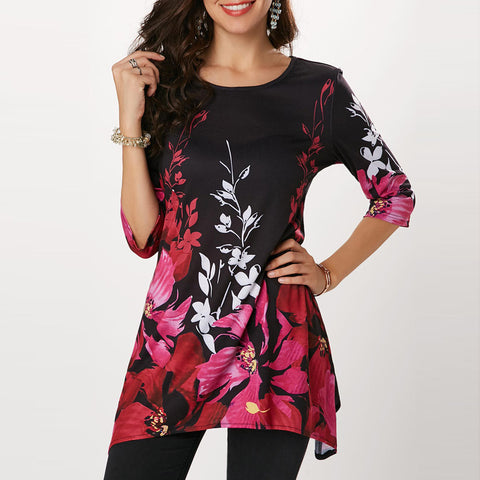 Casual Floral Printed Three Quarter Sleeve Tops