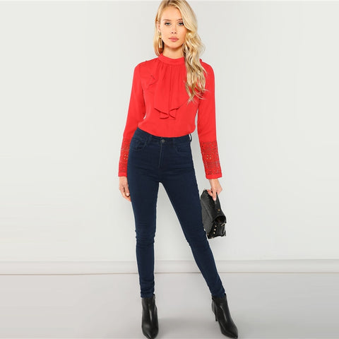 Red Flounce Neck Lace Cuff Long Sleeve Ruffle Shirt Top