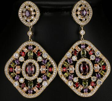 Luxury Full Shiny CZ Crystal Drop Earrings for Women