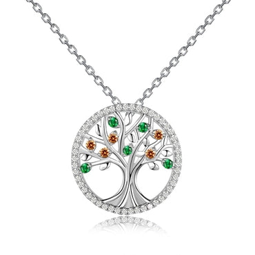 Colorful Gemstones Sterling Silver Round Tree Shaped Pendant Necklace