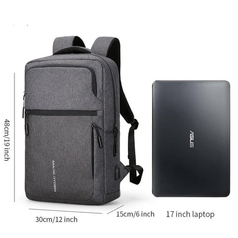 New Solid Color USB Charging Waterproof 17 Inch Laptop Bags for Men