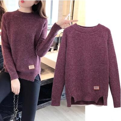 Long Sleeve Solid Color Casual Knitted Winter Sweater