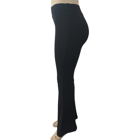 Solid High Waisted Elastic Flare Pants for Women