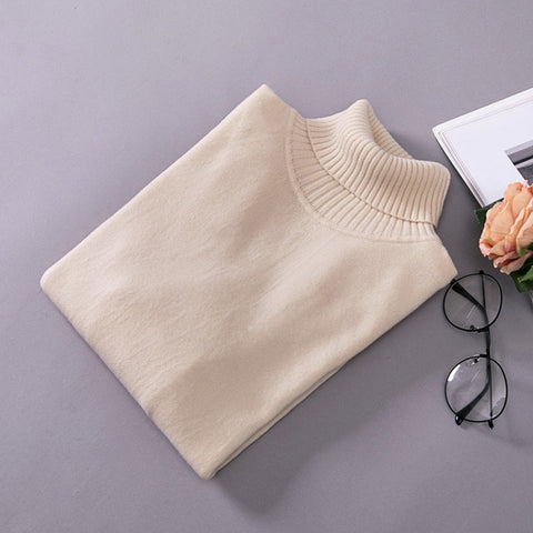 Knitted Bottoming Elastic Long-Sleeved Turtleneck  Sweaters