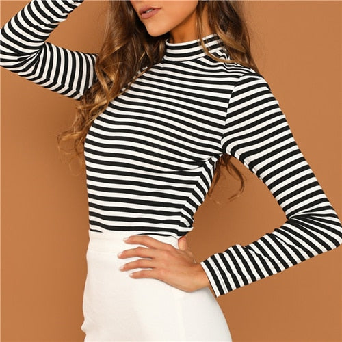 Black & White Slim Fit Mock High Neck Striped T-Shirt Top