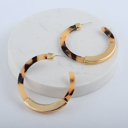 Vintage Circle Print Bohemian Hoop Earrings
