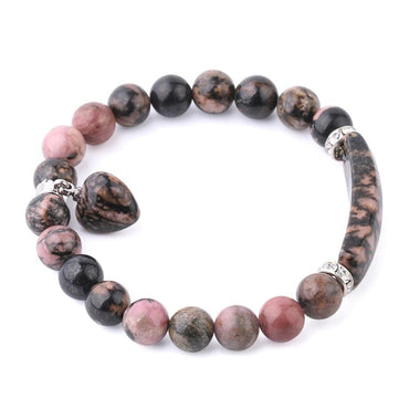 Natural Gem Stone Line Rhododendron Love Heart Beads Unisex Strand Bracelets