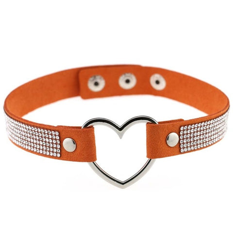 Leather Strap Heart Rhinestone Choker Necklace