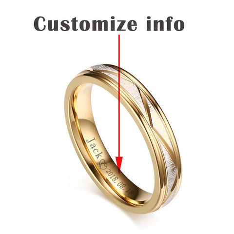 Love Matte Stainless Steel Gold Color Rings