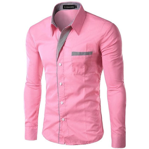 Korean Slim Design  Long Sleeve Turn Down Collar Casual Shirt