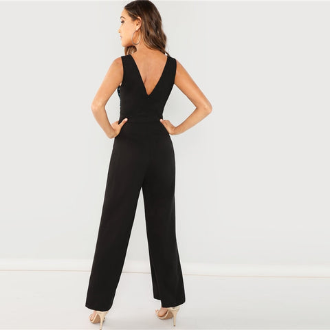 Black Colorblock Sequin V Neck Sleeveless Jumpsuit