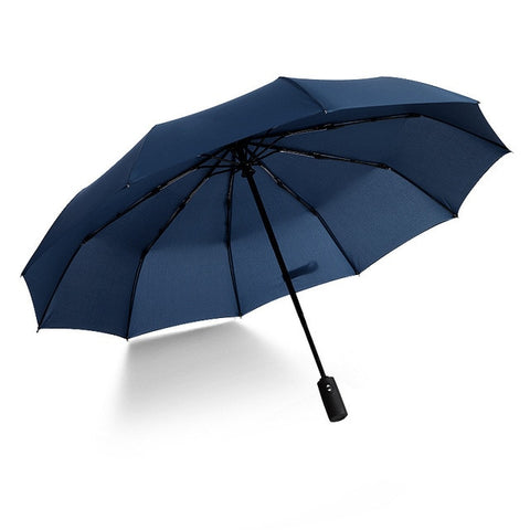 Metal Automatic Three-Folding Large Windproof Black Paint Umbrella For Women