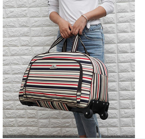 Solid & Striped Wheeled Trolley Travel Bag
