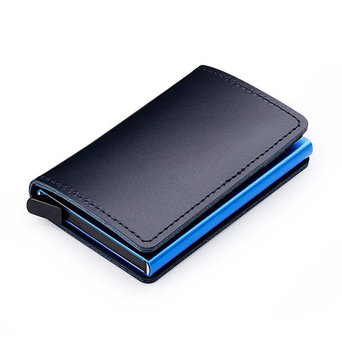 Genuine Leather Aluminium Metal Slim Cardholder Men's Wallet