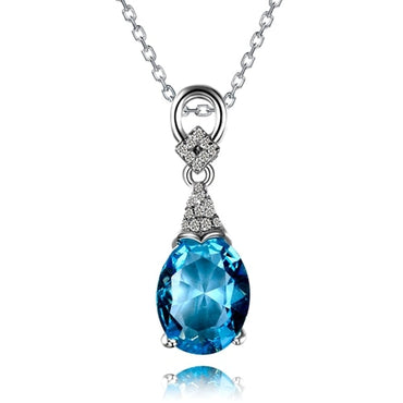 Sterling Silver Aquamarine Gemstone Chain Pendant Necklace