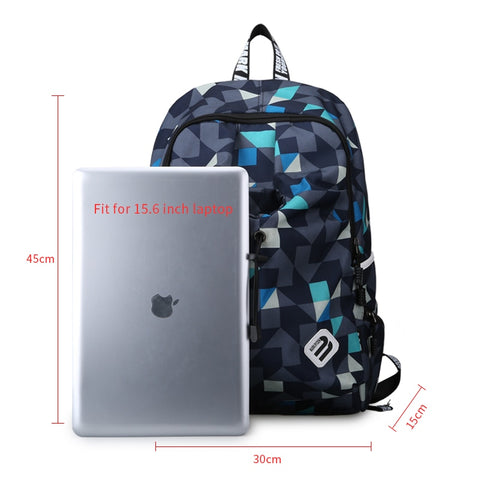 Geometric Print Water Repellent Nylon Laptop Backpack