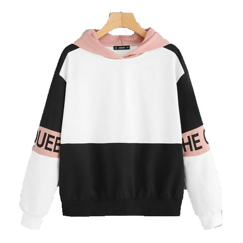 Multi Color Block Letter Print Pullover Hoodie Women Sweatshirt