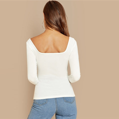 White Front Button Ribbed Knit Deep V Neck Casual Top