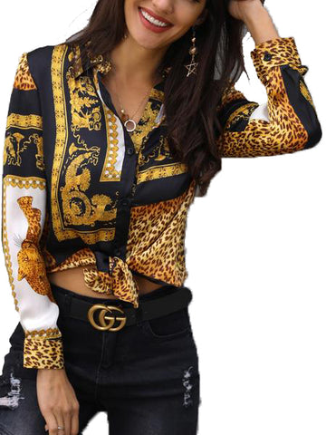 Elegant Loose Turn Down Collar Leopard Print Front Knot Long Sleeve Women's Top