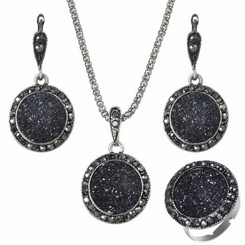 Vintage Antique Silver Crystal Round Stone Pendant Jewelry Set