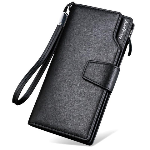 Solid Color Split Leather Men's Zipper Wallet