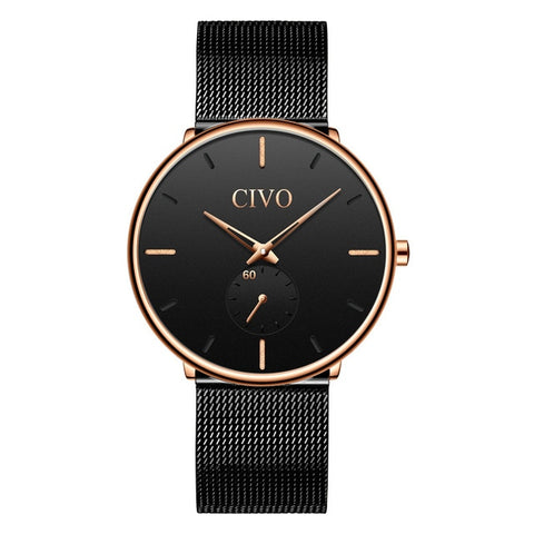 Waterproof Slim Mesh Strap Minimalist Quartz Wrist Watch
