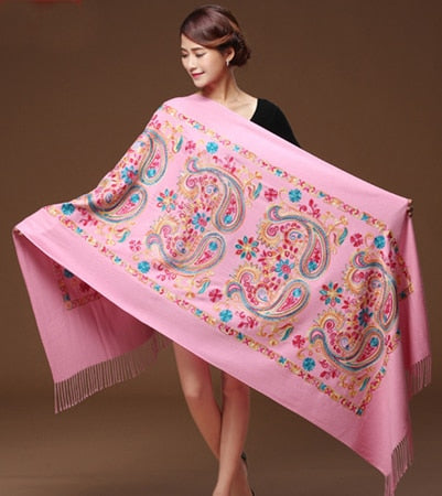 Floral Print Pashmina Cashmere Women Embroider Scarves Shawl
