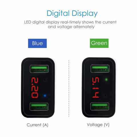 LED Display Dual USB Fast Charge Mobile Adapter