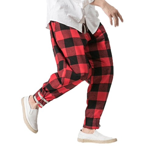 Plaid Loose Harem Style Men Trouser