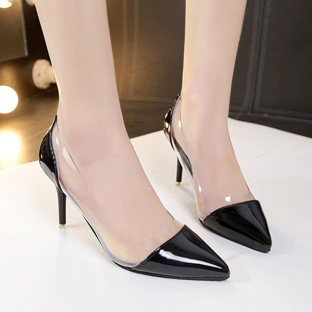 Thin High Heels Pointed Toe Women's Leather Pumps