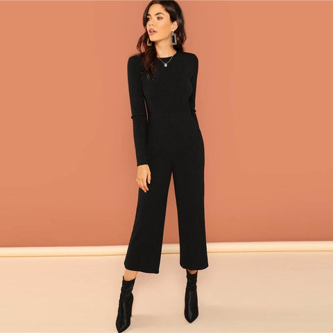 Wide Leg Stretchy Round Neck Long Sleeve Jumpsuits