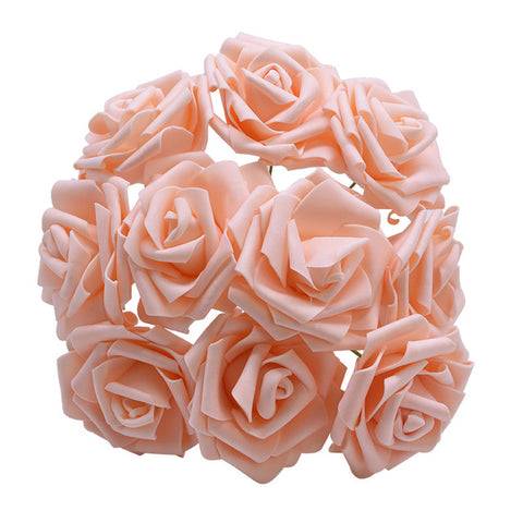 Colorful Artificial PE Foam Rose 25 Heads 8CM Flowers For Decoration