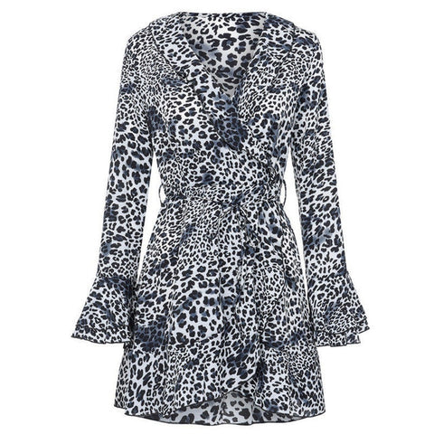 Leopard Printed Ruffled Hem Flare Sleeve Party Wrap Mini Dress