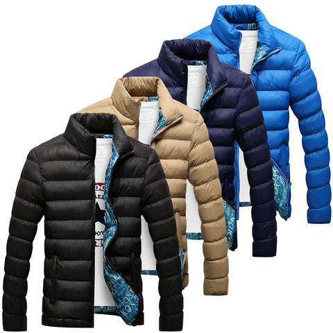 Casual Solid Stand Collar Thick Winter Zipper Jackets