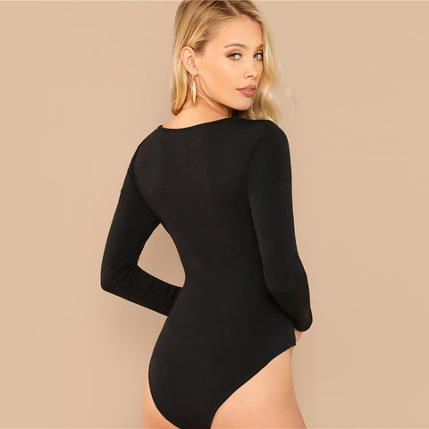 Black V Cut Neck Long Sleeve Skinny Mid Waist Romper