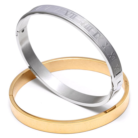 Stainless Steel Titanium Round Shaped Bangle Bracelet