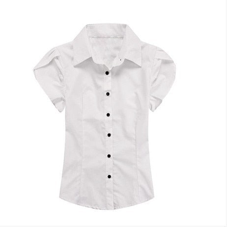 Casual Short Petal Sleeve Button Up Plus Size Shirts