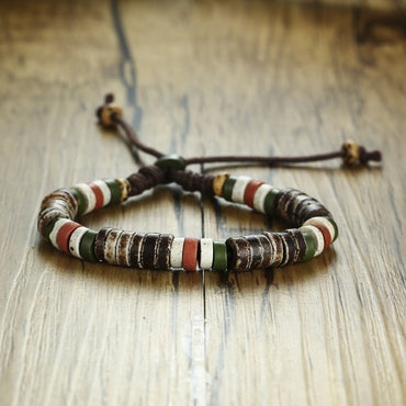 Natural Stone Adjustable Length Lace-up Beaded Bracelets For Unisex