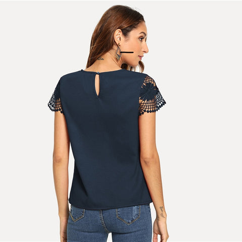 Navy Cutout Lace Contrast Cap Sleeve Plain Round Neck Blouse Top