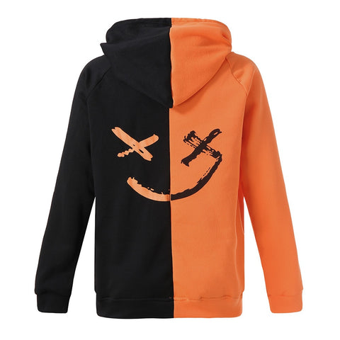 Causal Smiling Face Print Hoodie Plus Size Sweatshirt