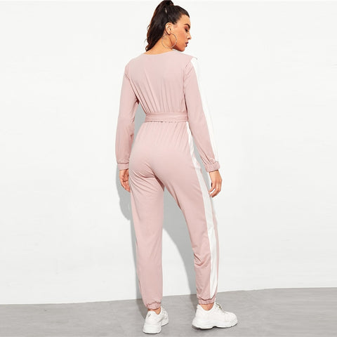 Pink Side Seam Wrap V-Neck Long Sleeve Striped Mid Waist Jumpsuit With Belt
