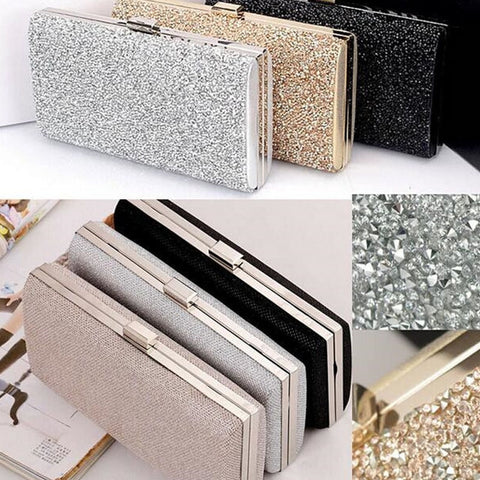 Sequined Crystal Studded Clutch Bag with Chain